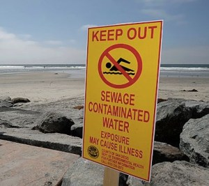 contaminated beach sign