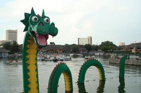 Friendly sea serpent in city