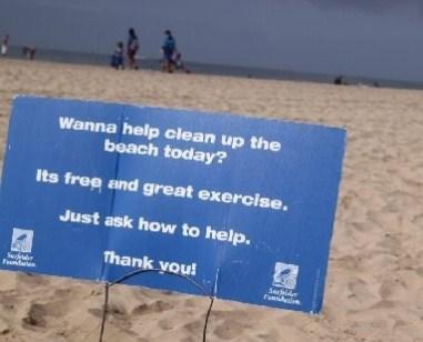 beach cleanup signA