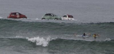 Fiats in ocean