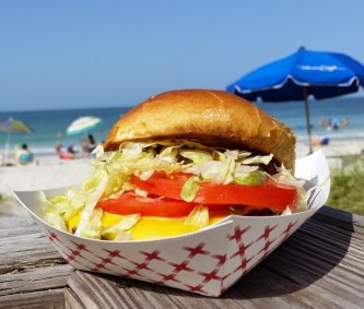 Hamburger at beach
