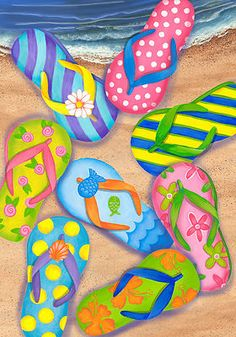 flip flops all together on beach