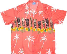 tiki shirt with flowers red