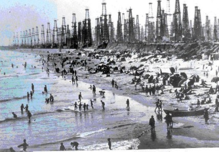Huntington Beach oil wells - blue