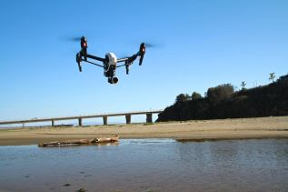 drone at river's edge