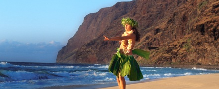 hawaiian dancer on beach