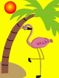 flamingo and palm tree postcard