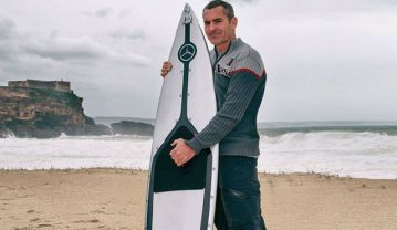 Garrett McNamara and surfboard